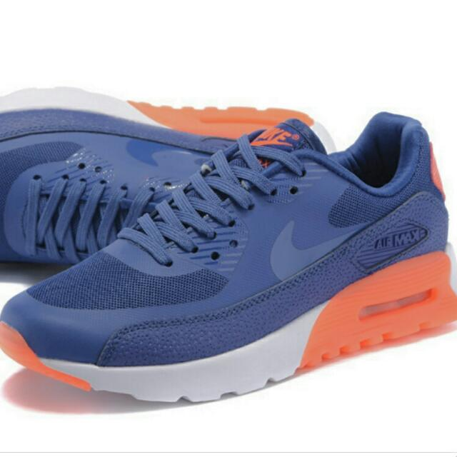 ee1e2bc9a9b9 Nike Air Max 90 Ultra Essential Womens Shoes Dark Blue orange White ...
