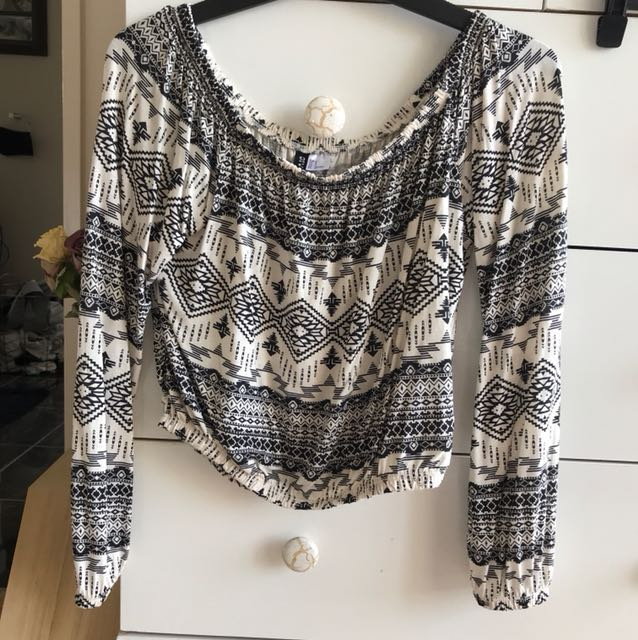 Off the shoulder patterned shirt