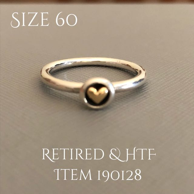 Pandora Size 60 Brand New TT Gold Heart Solitaire Ring Retired