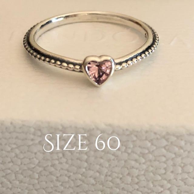 Pandora Size 60 Sweetheart Rose Pink CZ  Ring Brand New