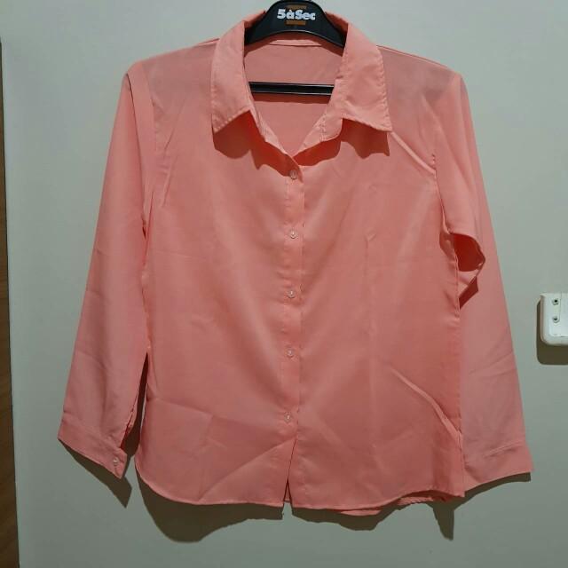 Pink Long Sleeve Basic Shirt