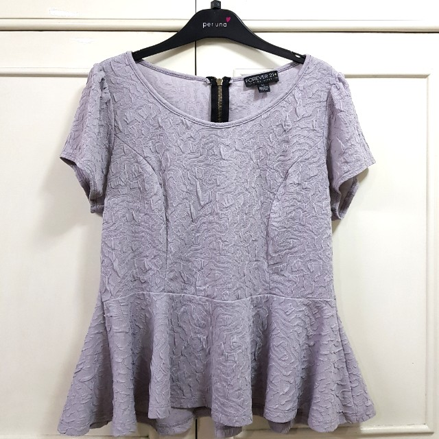 Plus size Forever 21 Gray 1X Peplum Top