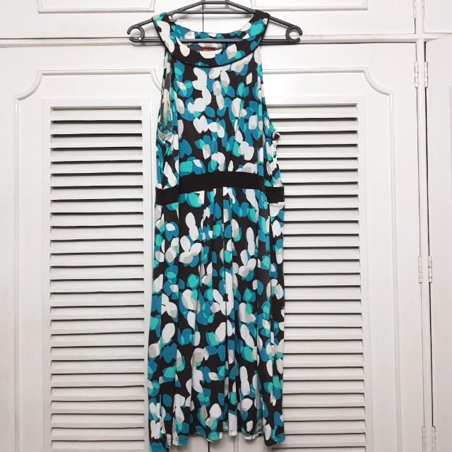Plus size Merona XXL Turquoise Printed Halter Dress