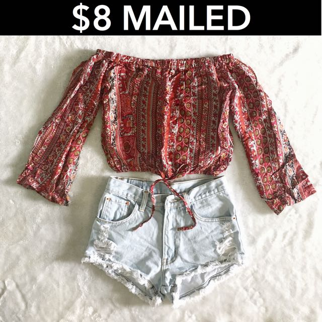 e92b3b9faacb5 Red Boho Off Shoulder crop Top on Carousell