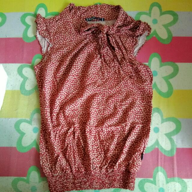 Red Girl Sleeveless Bow Top Blouse