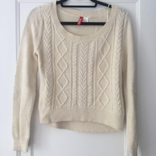 Semi Cropped White Sweater