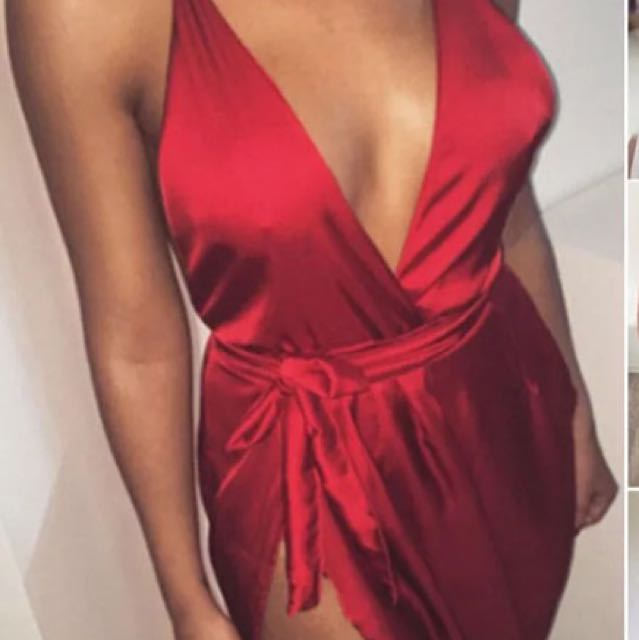 Silk red evening dress