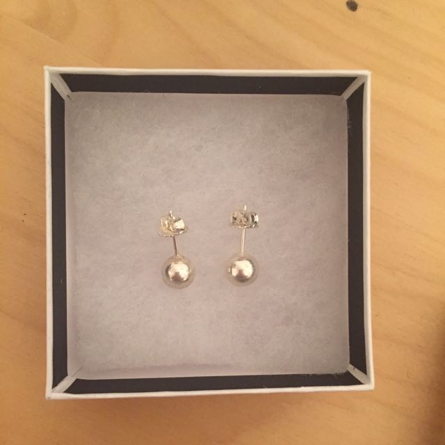 Silver ball earrings-REDUCED