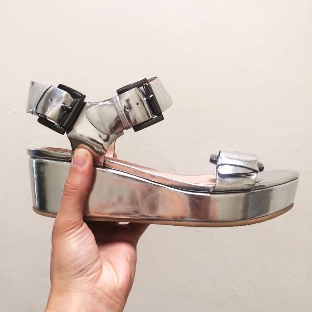 Silver metallic platform sandals