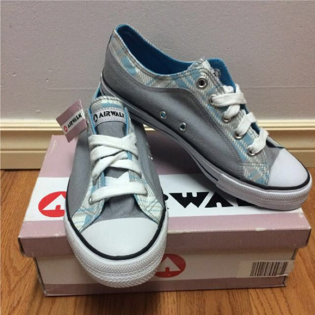 "Size 8 BNIB AirWalk Turquoise ""Kicks"" Sneakers (Blue Plaid w/ Grey)"
