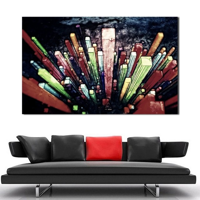 Sky View Cityscape Handpainted Oil Painting