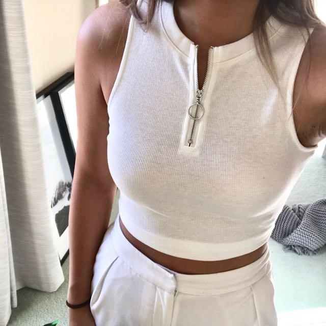 White Zip Singlet