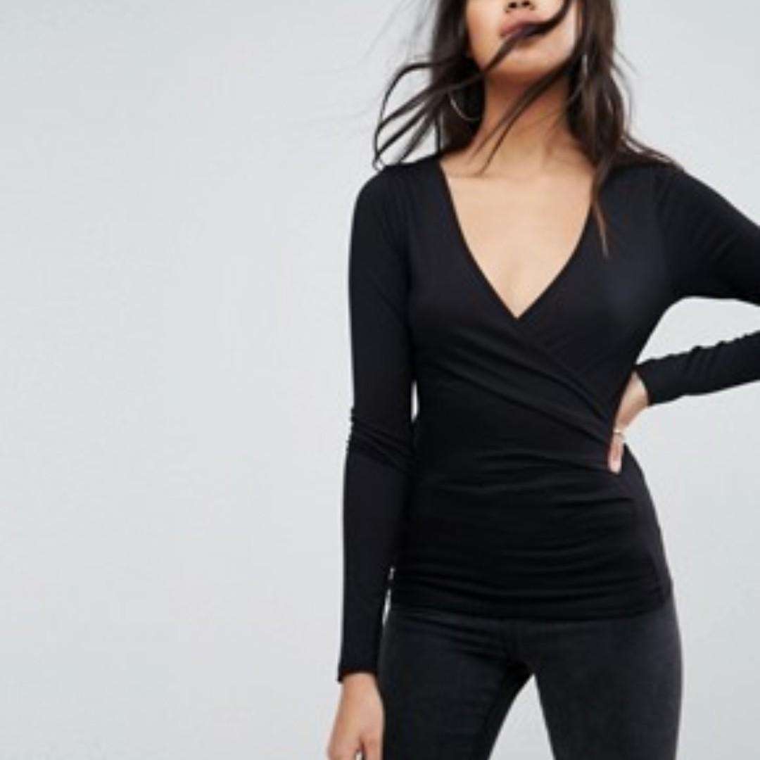 Esprit Wrap Long Sleeves Top