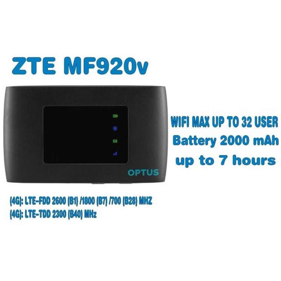ZTE MF920V Brand New Unlocked MIFI LTE 4G FDD TDD CAT4 150Mbps Mobile  Pocket WIFI Internet Hotspot Wireless Router #huawei (Optus Branded)