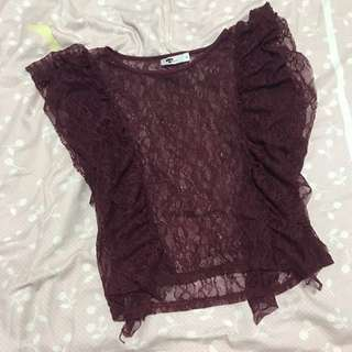 Temt Maroon Lace Outer Top | Size M