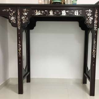 *Sold* Rosewood Altar Table with Mother-of-Pearl (Fu Lu Shou Table)