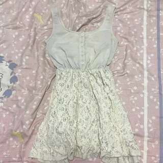 Luela Cream Lace Button Dress