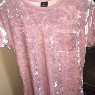 long velvet baby pink t-shirt