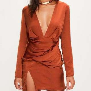 missguided orange silky dress
