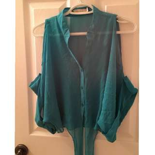 Costa Blanca cold shoulder blouse