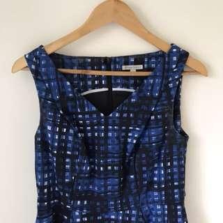 Blue patterned dress size 10
