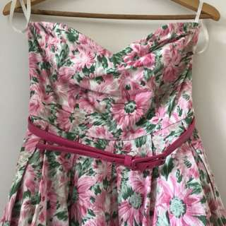 Strapless floral Review Dress size 10