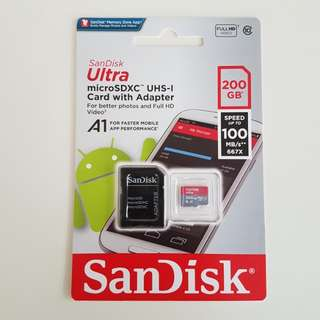 New Sealed Sandisk 200gb Micro SD Card