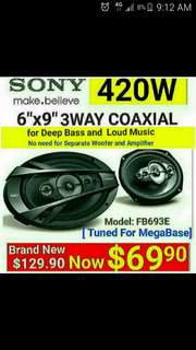 "[Brand New]  6""x9"" Speakers - SONY 3  Way 420watts Coaxial Speaker. The best oval shape speakers for your car without the need for separate Amp + Woofer. Model:FB693E. Usual Price: $ 129.90. Special Price: $69.90 ( Brand New In Box  & Sealed)"