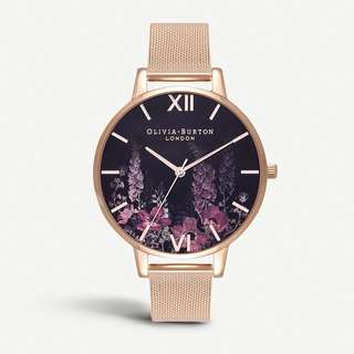 OLIVIA BURTON Dark Bouquet rose gold-plated watch