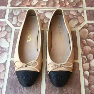 Authentic chanel ballerina beige flatshoes