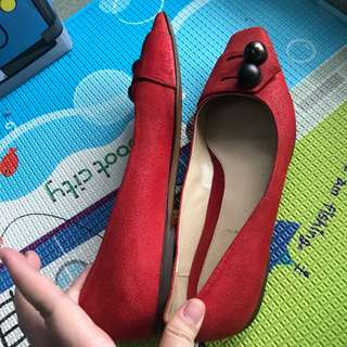 Authentic fendi red flatshoes