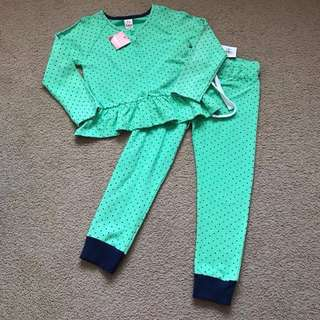 NWT Size 5-6 years Rhubarb green with black spots frilly lightweight track suit