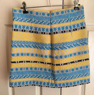 LIKE NEW Zara Jacquard Blue Yellow Black Embroidered Skirt - Size S / 8