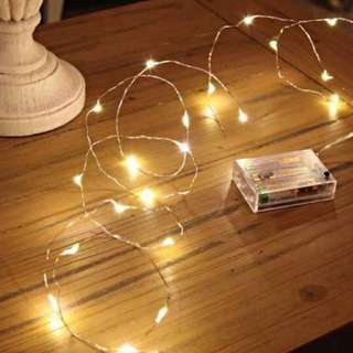 0 Warm White LED Silver Wire Micro Battery Fairy Lights
