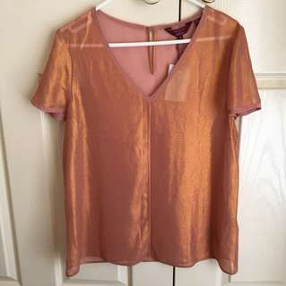 NEW WITH TAGS Ted Baker Designer Rose Gold Copper Blouse Cocktail Dinner Top - size 8 or 10