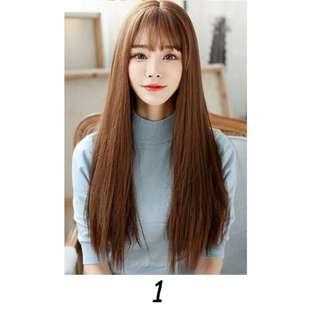 Korean Air Fringe Full Wig With Scalp (Straight/Curls) (Natural Black/Brown/Dark Brown/Chestnut Brown)