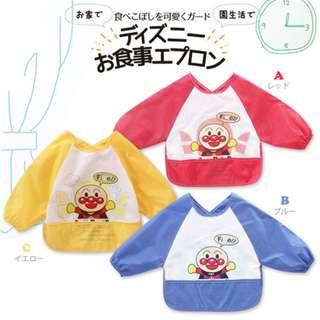 外貿原單進出口日本可愛麵包超人細菌人家族卡通圖案超實用寶寶長袖吃飯衣畫畫罩衣反穿衣圍兜