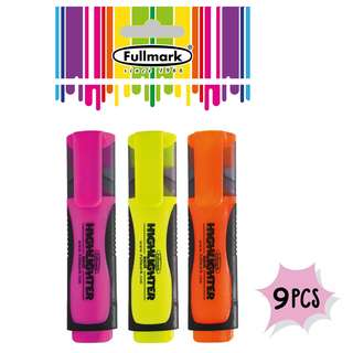 9 Pcs Fullmark Fluorescent Highlighter, Chisel tip, Assorted Colours - Pink, Yellow, Orange