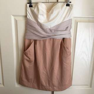 LIKE NEW Cooper Street Beige Champagne White Cocktail Prom Dress Sweetheart Strapless - Size 10