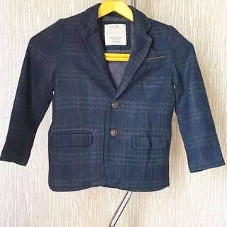 Zara Boys Navy Checker Winter Jacket