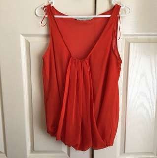 LIKE NEW Zara Bright Orange Drape Chiffon V Neck Blouse Top - Size 6 or 8