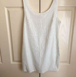 Gorgeous Sequin White Short Mini Dress Clubbing Party - Size 8 or 10