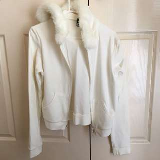 LIKE NEW Westco Fur White Veour Velvet Trackie Hoodie Jumper - Size 8