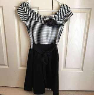 NEW WITH TAGS Forever New Dress French Naval Sailor Style Black White Chic - Size 8