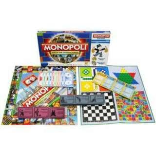 Monopoly 5 in 1 Monopoli, Halma, Catur, Ular Tangga, Ludo
