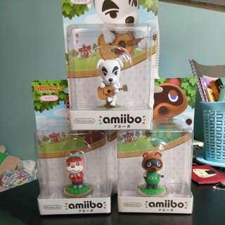 amiibo - K K Slider,  Lottie,  Tanukichi (animal Crossing)