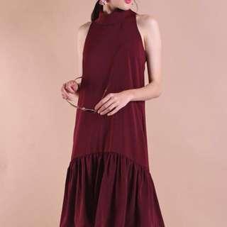Neonmello nerisa collar frilly dropwaist dress in wine