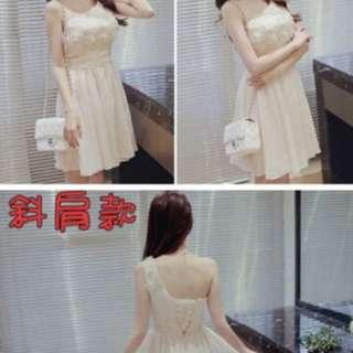 白色斜肩小禮服