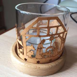 Woodcrafted Nativity Candle