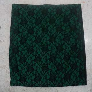 Green lace bodycon short skirt